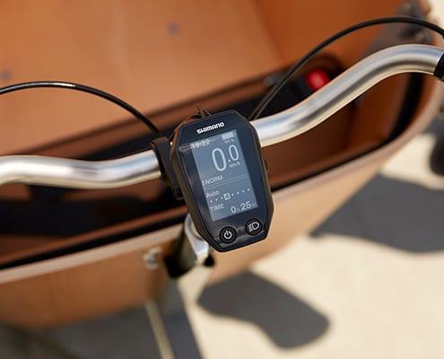 Siigar Bikes elektriske ladcykel styr med Shimano Cykel Computer, der bruges til at bestemme dit assistanceniveau.